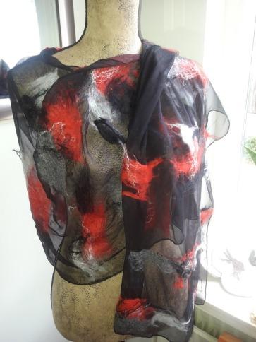 Shawl wol op zijde zwart
